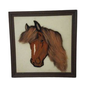 Punch Needle Horse Western Country Home Decor